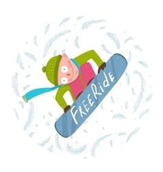 Snowboard funky free rider jump fun cartoon vector