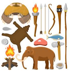 Stone age aboriginal primeval historic hunting vector