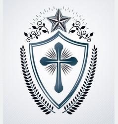 Vintage decorative emblem composition heraldic vector
