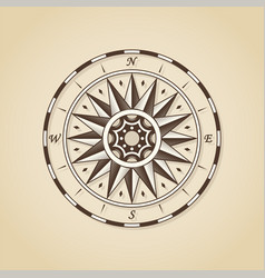 vintage old antique nautical compass rose sign vector image