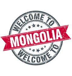 Welcome to mongolia red round vintage stamp vector