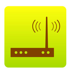 Wifi modem sign brown icon at green vector