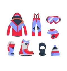 Winter sports objects equipment collection vector image vector image