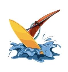 Windsurfing in sea water vector