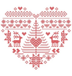 Nordic pattern in heart shape with reindeer tree vector