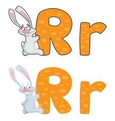 letter R rabbit vector image