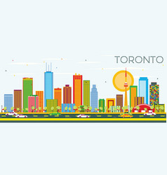 Toronto skyline with color buildings and blue sky vector
