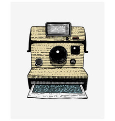 instant photo camera vintage engraved hand drawn vector image