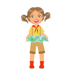 happy girl scout holding a tourist map a colorful vector image