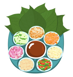 Leaf wrapped salad bite thai appetizer vector