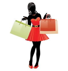 Shopping girl in red dress silhouette vector