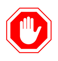 Stop do not enter stop red sign with hand vector