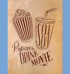 poster soda popcorn craft vector image