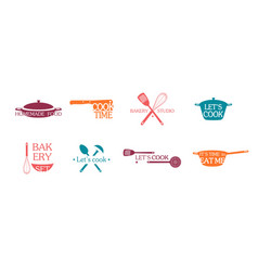Cooking emblems and logos set vector