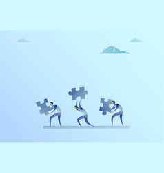 Group of business people carry puzzle parts vector