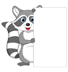 Cute raccoon cartoon holding blank sign vector