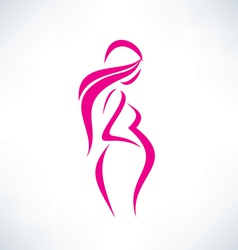 pregnant woman silhouette isolated symbol vector image