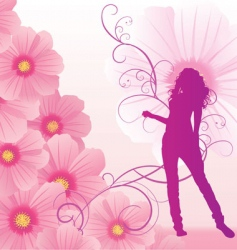 pink cosmos flowers girl dance vector image