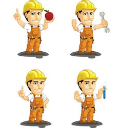 Industrial construction worker mascot 10 vector