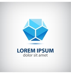 Abstract crystal blue geometric icon logo for your vector