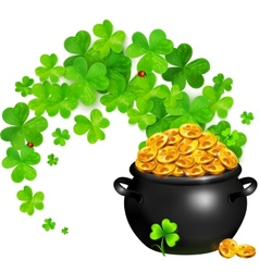 Pot of magic gold with clovers swirl vector