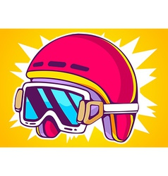 Red fashion helmet on yellow background vector
