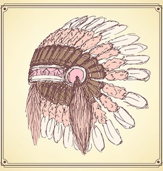 Sketch native americans hat in vintage style vector