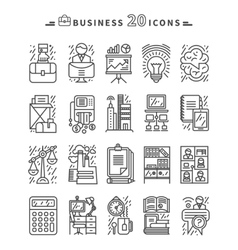 Set of black business icons on white background vector