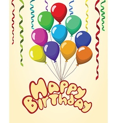 Happy birthday text baloons ribbons pastel vector
