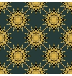 Vintage turquoise and gold seamless pattern vector