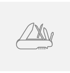 Multipurpose knife line icon vector