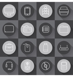 Set of line craft icons for business with computer vector