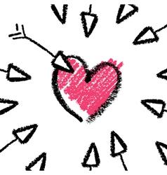Crayon valentines day vector