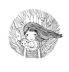 Beautiful young girl and a cute cat vector