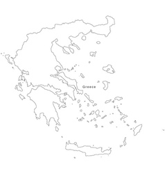 Black white greece outline map vector