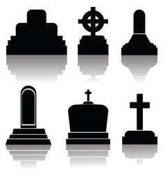 black gravestones vector image