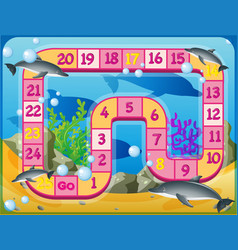 Boardgame template with dolphins swimming vector