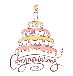 Cake and Congratulations vector image