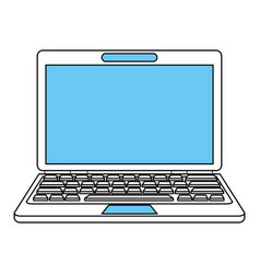 Color silhouette image front view laptop computer vector