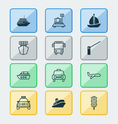 delivery icons set collection of sailboat vector image