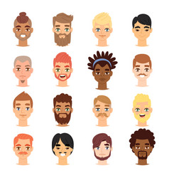 Different ethnic nationality affiliation man head vector