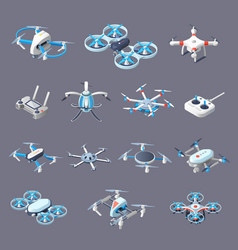 drones isometric icons vector image