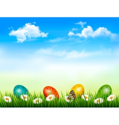 Easter background easter eggs laying in green vector