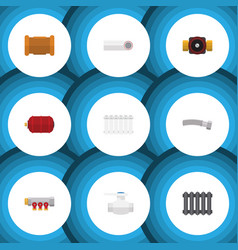 flat icon sanitary set of tap heater container vector image vector image