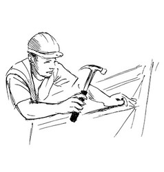 Hand sketch worker with hammer vector