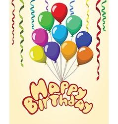 Happy birthday text baloons ribbons pastel vector