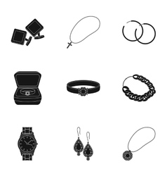 Jewelry and accessories set icons in black style vector