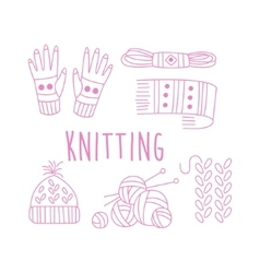 Knitting related object collection with text vector