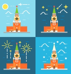 Kremlin clock tower flat design vector