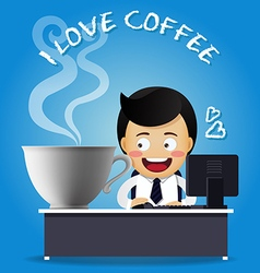 Man working on computer with big coffee cup vector